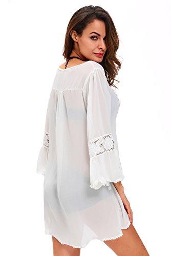 New Damen Off Weiß Lose Chiffon & Spitze Bell Sleeve Cover Up Bademode Strandmode Sommer tragen Größe S UK 8�?0EU 36�?8