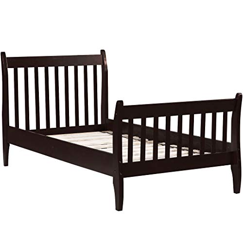 Harper & Bright Designs Twin Bed Frame Wood Slats Platform Twin Size Bed Frame with Headboard, No Box Spring Required Single Platform Bed Frame for Kids Espresso