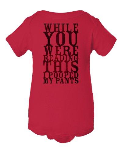 Humorous I Pooped My Pants Design Red Baby Bodysuit