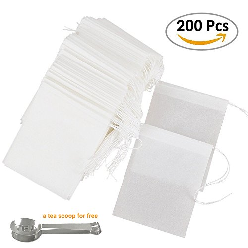 Cloudyfocus Disposable Tea Filter Bags - Pack of 200, Empty