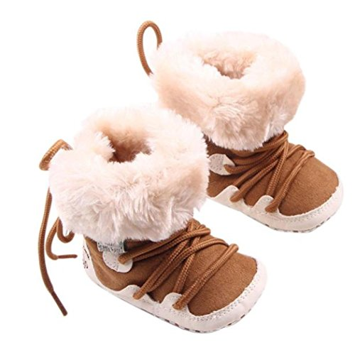 Baby Winter Shoes, Mchoice Baby Winter Soft Sole Crib Warm Flats Boot Toddler Prewalker Shoes Anti-slip Shoes (4~8 Months, Khaki)