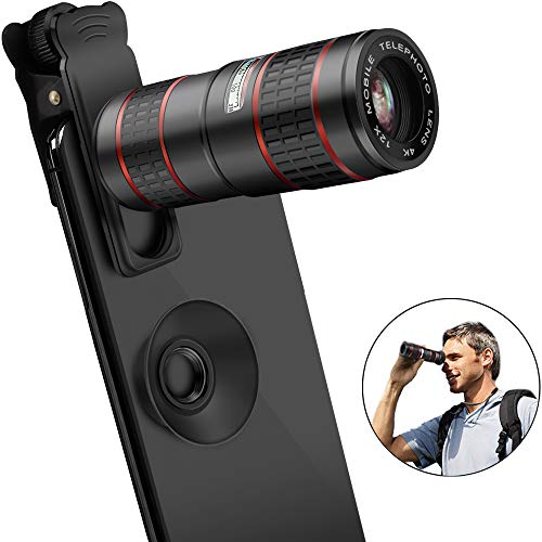 Cell Phone Camera Lens,VPKID 12X Zoom Telephoto Lens for Smartphone 2 in 1 HD Dual Focus Monocular for Adults Clip on Telephone Lens Kit Compatible iPhone X/8/7/6/6s plus Samsung