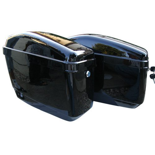 - EGO BIKE GA Vivid Black Motorcycle Hard Saddlebags Trunk for Yamaha Harley Crusier