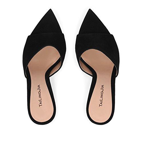 atractivas mujeres Open de para sandalias de mujer tacones negro Amy Mules verano tacones Q de aguja altos tacón para las zapatos vestido Toe qCR5v0