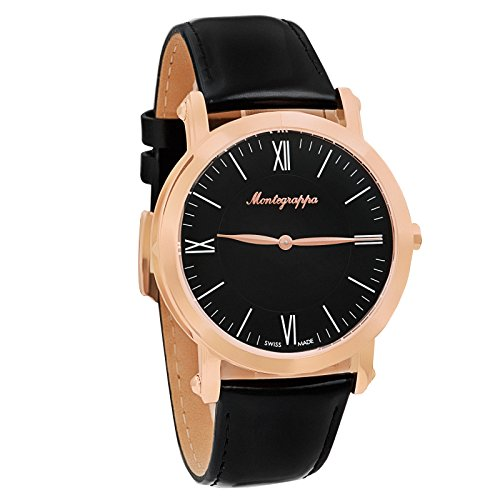 Montegrappa NeroUno Slim Swiss Made Men's Rose Gold Watch IDNMWARC