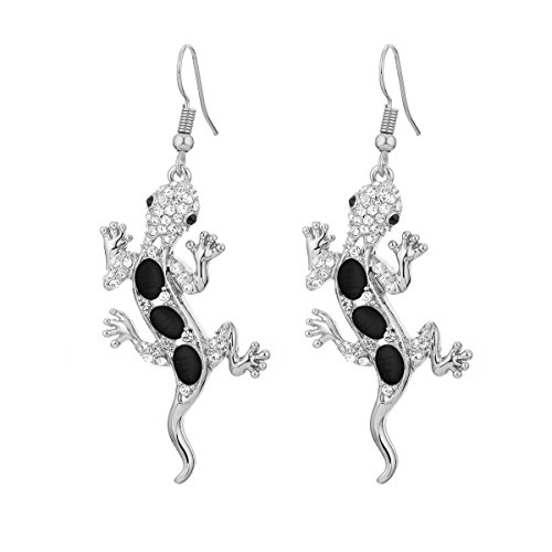 - Dangle Earring for Women,Gecko Drop Earring Girls Gold and Silver Earrings with CZ Crystal Stainless Steel Hook Earring (Silver Plated)