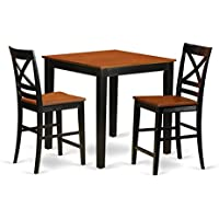 East West Furniture PBQU3-BLK-W 3 Piece Kitchen Dinette Table and 2 Counter Height Dining Chair Set
