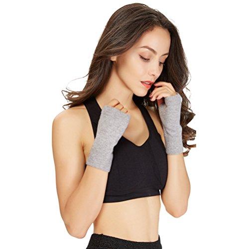 朝逆カビXIKA レディース あったか手袋 指なし ニット ヨガグローブ リブ編み パソコン操作用 冷え取り ショート丈