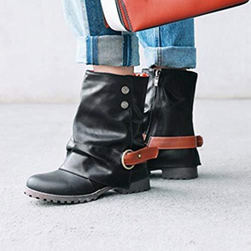 Damen Kurze Damen Kunstleder Schnalle Leder Stiefel Low Stiefel Heel Warme Schwarz Reißverschluss Mode VJGOAL Schuhe Patchwork Knöchel Bgwd6x6