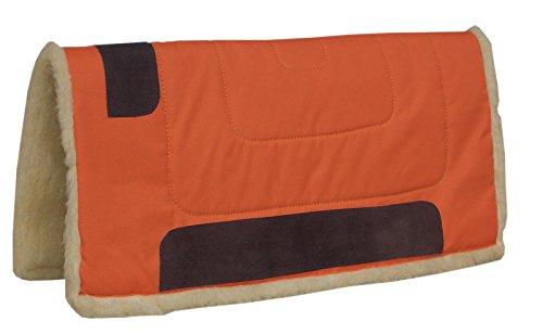 Amesbichler Westernpad ORANGE | Western Pad Inka mit Teddy Fleece Unterseite aus 100% Polyester, 75 cm lang x 80 cm breit, Lederverstä rkt Reitsport Amesbichler