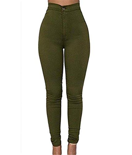 Skinny Jeans Pantaloni Matita Leggings Denim Lunghi Elastico Verde Donna in Pantaloni vita A alta wqWnWpSg