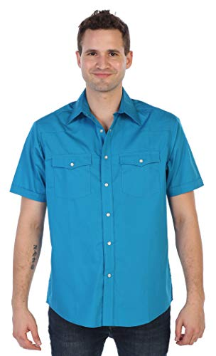 (Gioberti Mens Casual Western Solid Short Sleeve Shirt with Pearl Snaps, Turquoise, 3X Large)
