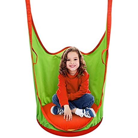 Sorbus Kids Pod Swing Chair Nook Hanging Seat Hammock Nest For Indoor And Outdoor Use Great For Children All Accessories Included Pod Orange