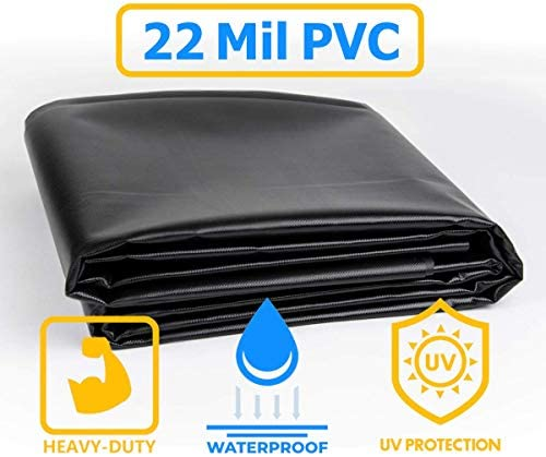 Vinyl Pond Liner 20 oz 25 x 25 22 mil Heavy Duty Black Tarp