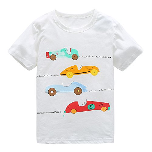 HowJoJo Boys Cotton Short Sleeve T-Shirts Summer Shirt Cars Graphic Tees White 4T