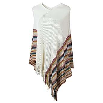 SherryDC Women's V-Neck Knit Colorful Striped Tassel Hem Pullover Poncho Sweater Shawl One Size White