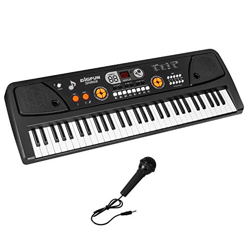 M SANMERSEN 61-Key Portable Keyboard Piano with LCD Screen, Music Piano Keyboard with Microphone, Electronic Musical Instrument for Kids Adults Beginners