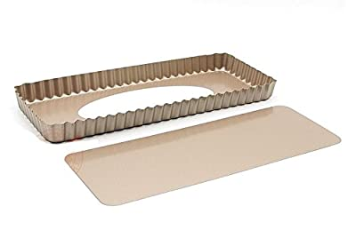 """Astra Shop Preferred Non-stick Rectangular Quiche Pan Pie Pan with Removeable Bottom, 14"""" X 6"""""""
