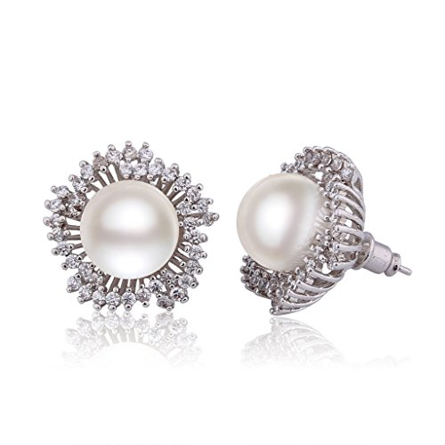 - GULICX Silver Plated Base 12mm Simulated Pearl CZ Snowflake Bridesmaid Pierced Earrings Ivory Color Gift