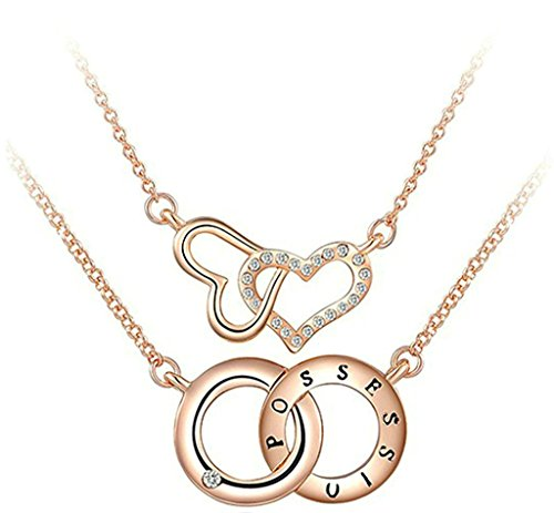 Opal Silver Globe (Gnzoe Jewelry, Gold Plated Double Heart And Circle Polish Rose Gold Charm Necklace For)