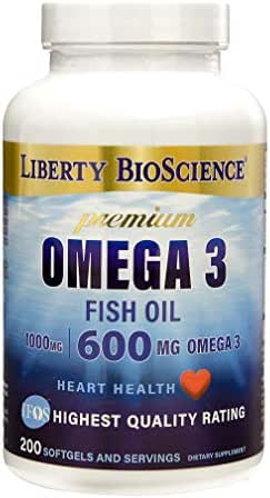 Liberty Bioscience Extra Strength Omega 3 Fish Oil Supplement, 200mg DHA 300mg EPA Prenatal Health, 600mg of Omega-3 per Softgel, 200 Softgels
