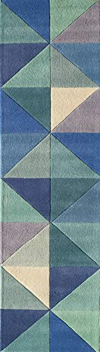 Momeni Rugs DELHIDL-44BLU2380 Delhi Collection 100% Wool Hand Carved & Hand Tufted Contemporary Area Rug, 2