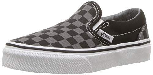 Vans Kids Classic Slip-On (Little Big Kid), ((Checkerboard) Black/Pewter, 1 M -
