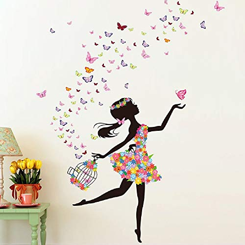 (Fairy Girl Wall Stickers DIY Butterflies Flowers Birdcage Wall Decals for Kids Room Home Decoration Accessories)