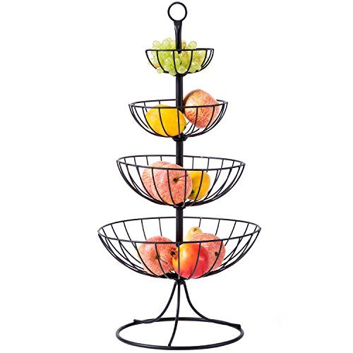 4 Tier Black Metal Wire Fruit Basket Tower, Kitchen Counter Produce Organizer with Top Handle