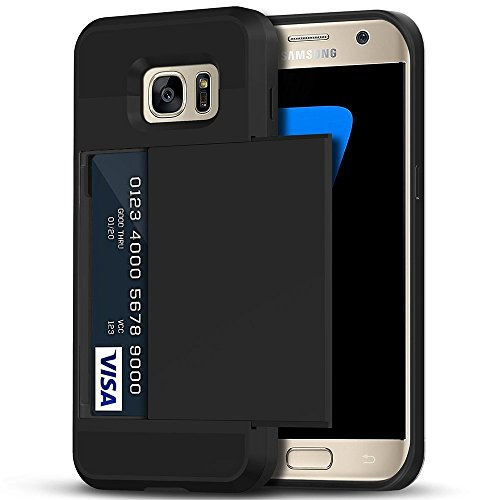 Galaxy S7 Edge Case, Anuck Slidable ID Card Slot Holder Galaxy S7 Edge Wallet Case [Credit Cards Pocket][Hard Shell] Shockproof Armor Rubber Bumper Protective Case Cover for Galaxy S7 Edge - Black