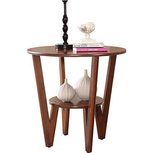 D&L Wood Waterproof Side table, Round End table Nordic Modern Coffee table Four legs Stable Sofa table Telephone table Storage rack-log 60X58cm