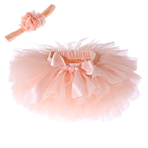 Baby Girls Tutu Skirt Headband Set Newborn Toddler Ruffle Tulle Diaper Covers 6-24 Months ()