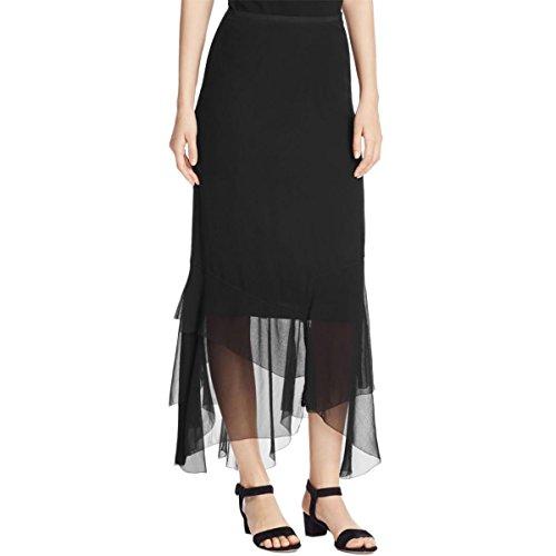 Elie Tahari Womens Bensa Georgette Tiered Peasant, Boho Skirt Black S