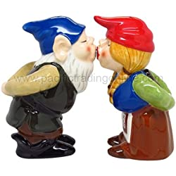 Kissing Gnome Couple 4 Inch Ceramic Magnetic Salt and Pepper Shaker Set Fun Novelty Gift