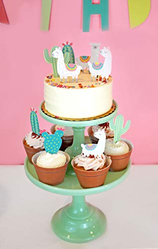 Llama and Cactus - Cupcake Toppers | Party Picks | Baby Shower, Birthday Party Decor | Llama Themed Party Supply by Merrilulu (Image #3)