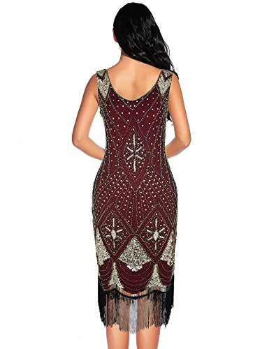 Deco Sequin for Burgundy 1920s Art Flapper Gatsby Dress Women Cocktail Dress 4q6nnH17X