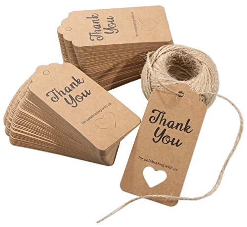 r Tags,Hollow Heart Thank You for Celebrating with Us Personalized Paper Gift Tags,100 Pcs Kraft Thank You Tags for Wedding Party Favors with 100 Feet Natural Jute Twine String (Baby Shower Personalized Heart)