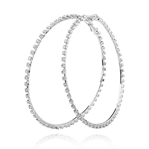 Usstore 1pair Women Lady Chain Fashion Thin Round Big Large Dangle Hoop Loop Earrings Jewelry Accessories Earring Gift (Silver) (20ct Princess Cut Diamond)