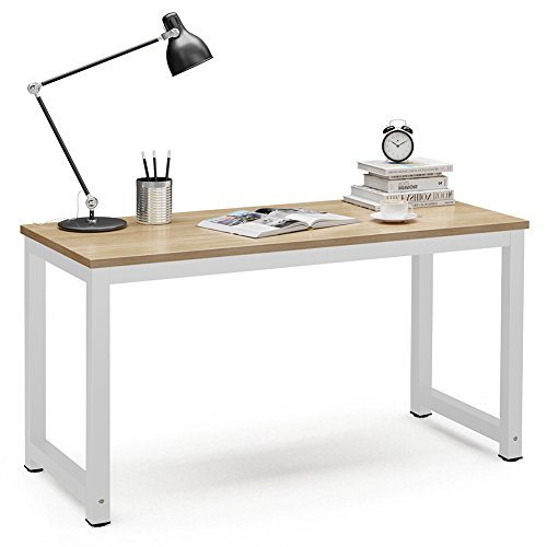 (Tribesigns Computer Desk, 55 inch Large Office Desk Computer Table Study Writing Desk for Home Office, Walnut + White Leg)