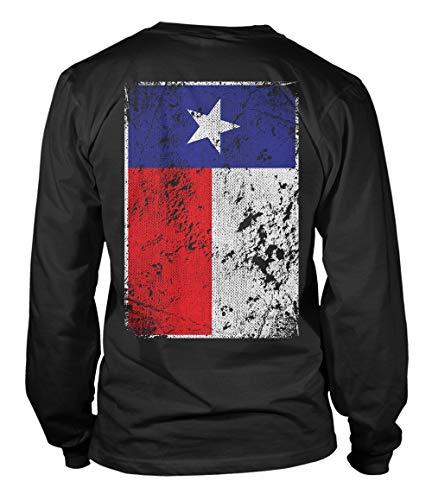 Tcombo Distressed Texas Flag - USA Lone Star State Unisex Long Sleeve Shirt (Black - Back Print, X-Large)