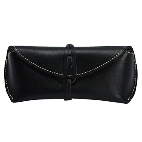 Boleke Unisex Handmade Genuine Leather Eyeglass Case Vintage Sunglasses Eyewear Protective Holder ((Wrap Closure)Black)