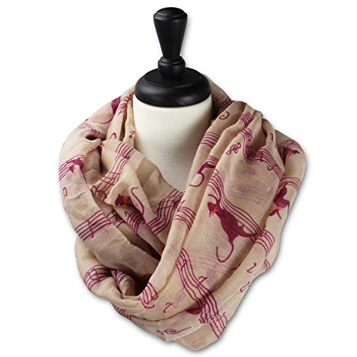 KnitPopShop Music Note Infinity Loop Scarf for Women in the Summer (Pink Cat)