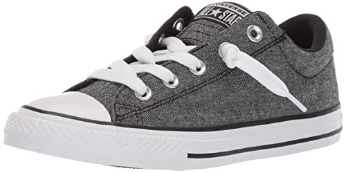 Converse Boys Kids' Chuck Taylor All Star Street Knotted Laces Slip On Sneaker Black/White, 1 M US ()