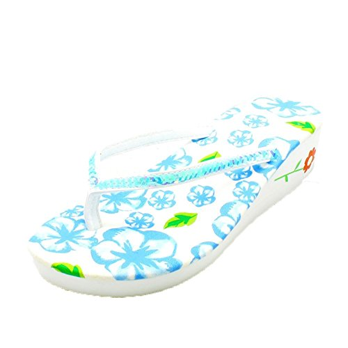 flip Blue sequined foam flops with strap heel wedge Ladies qwtF8x1Rz