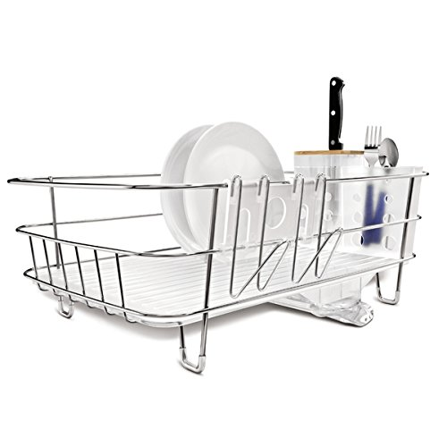 simplehuman Slim Wire Stainless Steel Frame Dishrack with Removable Utensil Holder