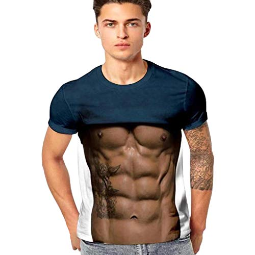 - VonVonCo Pullover Sweaters for Mens, Men's Funny 3D Muscle Printing Fitness Elastic Short Sleeve T-Shirt Top Blouse N-XXXXL (L, Brown)