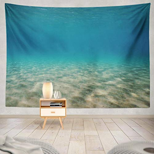 Darkchocl Underwater Sand Tapestry, Decorative Tapestry Underwater Sand Shallow Mediterranean Sea for Living Room Wall Hanging Tapestry 60 L x 60 W Underwater Sand