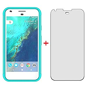 Phone Case for Google Pixel XL with Tempered Glass Screen Protector Cover and Bling Glitter Slim Hard Hybrid Rubber Silicone TPU Cell Accessories Pixle 1 XL One Pixel1 1XL 2016 Cases Women Girls Green