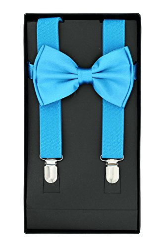 Buha Suspenders for Men, 2 in 1 Suspenders and Bow Tie, Mens Outfits Casual Suspender and Bow Tie Special Edition (Light Blue) ()