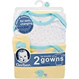 GERBER Baby 2-Pack Gown, New Duck, 0-6 Months